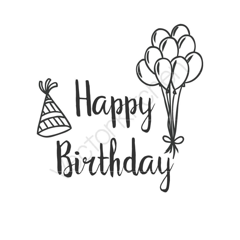 happy birthday cutting template svg eps silhouette diy cricut etsy