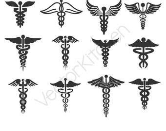 Caduceus 16 Style Designs Cutting Template SVG EPS Silhouette DIY Commercial Vector Instant Download, Medical, Doctor, Nurse, Healing