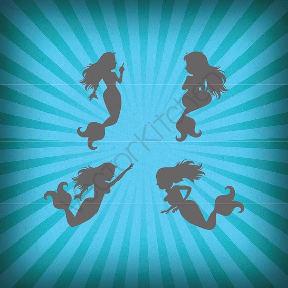 Mermaids Silhouette Cutting Template Svg Eps Silhouette Cricut Etsy