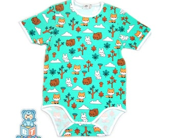 62cd73322 Adult Baby Forest Animals snap crotch Bodysuit ABDL