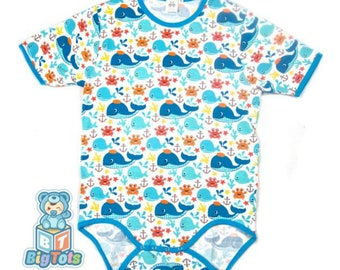 7c18463f0 Xmas Deal shorter style WHALES snap crotch Bodysuit ABDL,Adult Baby