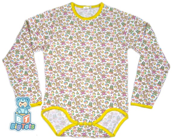 Adult Baby Transportation LONG sleeve snap crotch Bodysuit ABDL x7lQyi4pQ