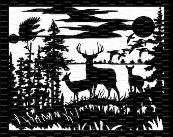 Deer Svg Cutting File Glass Blocks Etsy