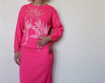 b899335b158 Hot Pink Palm Tree Knit 2-Piece