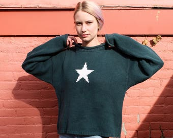 Dark Teal Star Sweater