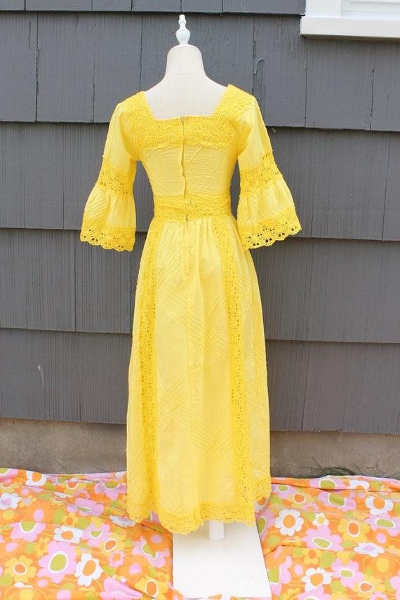 70s Bright Yellow Crochet Maxi Dress - image 7
