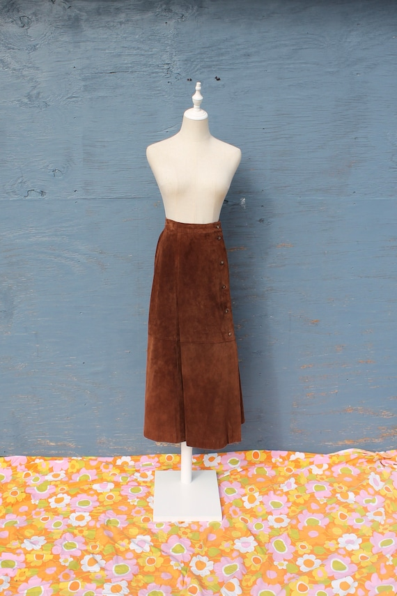 Brown Suede Button Front Maxi Skirt
