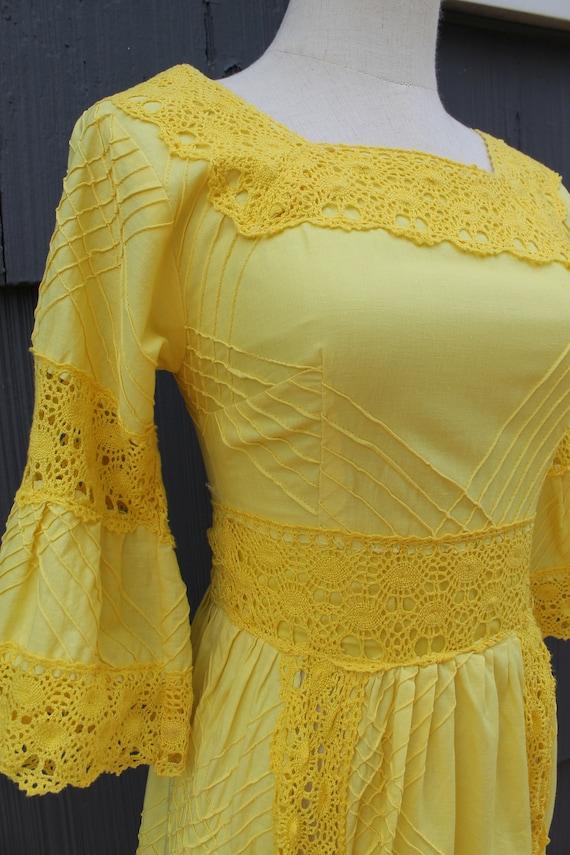 70s Bright Yellow Crochet Maxi Dress - image 3