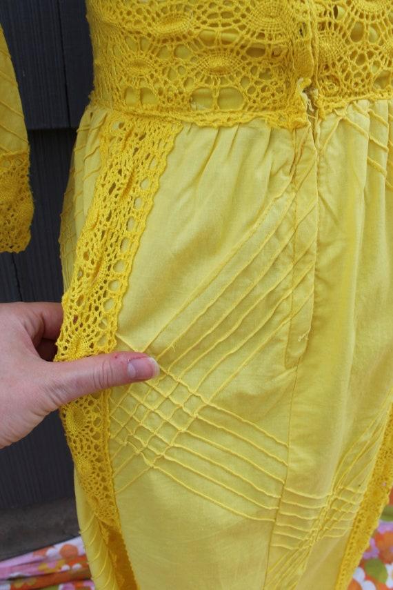 70s Bright Yellow Crochet Maxi Dress - image 9