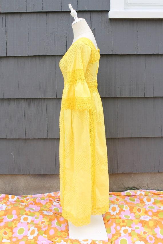 70s Bright Yellow Crochet Maxi Dress - image 6
