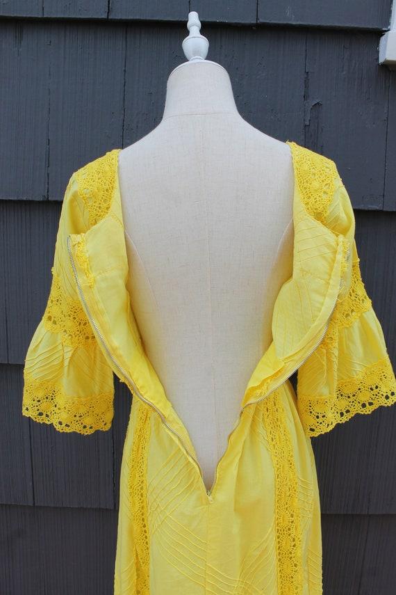 70s Bright Yellow Crochet Maxi Dress - image 10