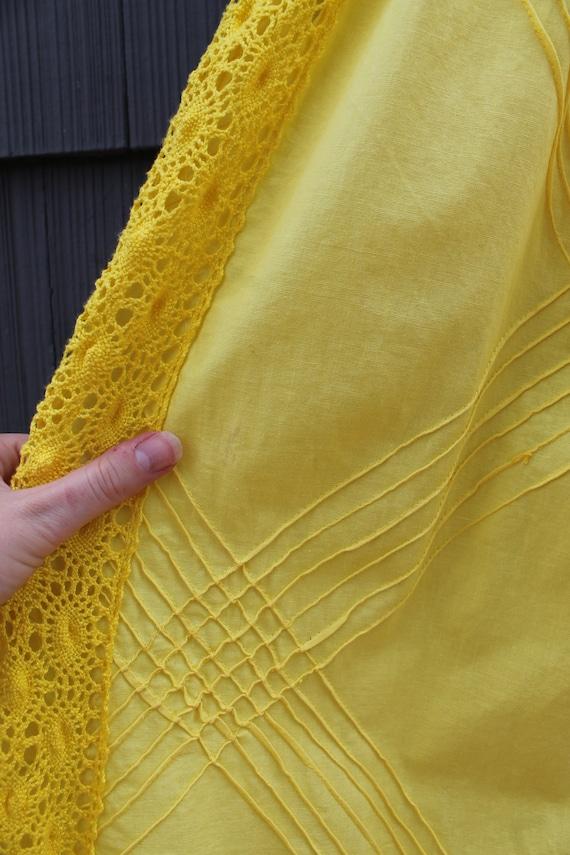 70s Bright Yellow Crochet Maxi Dress - image 4