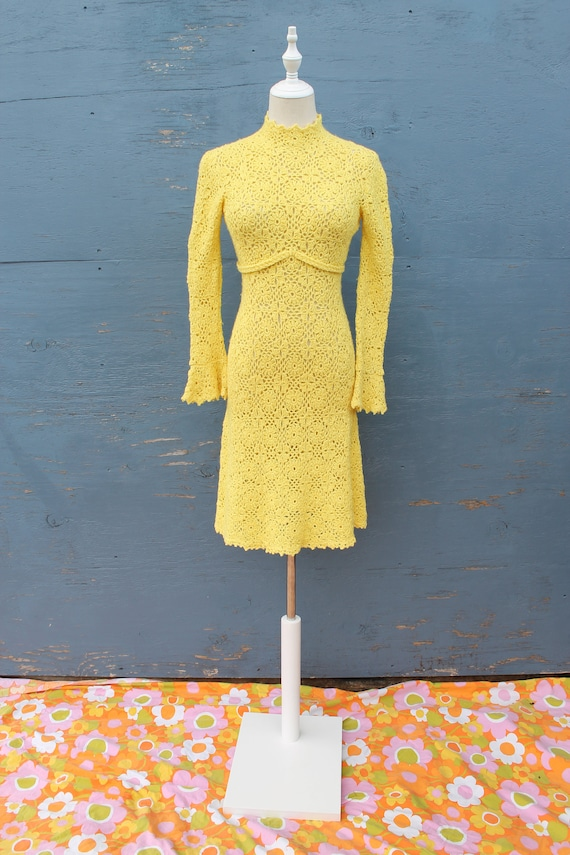1960s Bright Yellow Crochet Dress