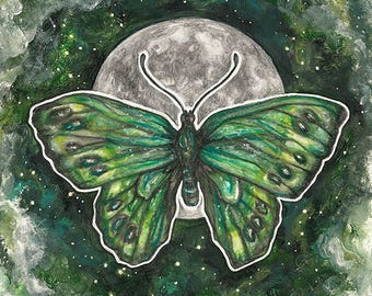Small Original Painting, Green Butterfly, Moon and Space Art, Colored pencils and Acrylic Paint, Surreal Spiritual Artwork, Fantasy Drawing