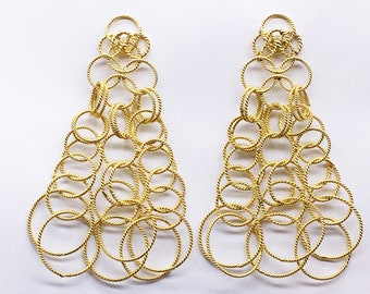 Handmade Women Long Dangling Earrings 925 Sterling Silver with 18kt Gold Micron Plating Textured with Loop design