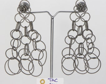 Handmade Women Long Dangling Earrings 925 Sterling Silver Oxidized with Textured with Loop design