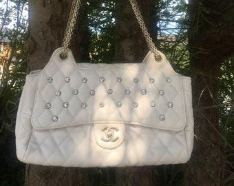 Weiß CC Diamante verziert Flap Tasche