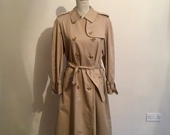 a09b0892cef Authentic vintage Burberry women s trench coat  Mac in classic beige .