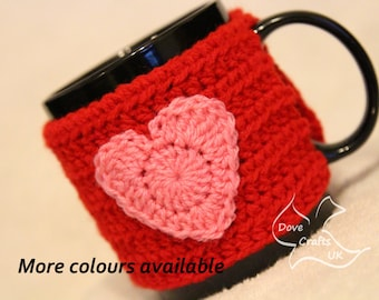 Heart Mug Cosy in Red with Pink Heart (Crochet Handmade)  / Cup Cozy Valentines gift