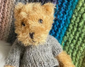 "Bernard is 11""/28cm tall.  A charming and interesting bear."