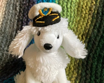"""Audrey is a white poodle, wearing a jaunty cap.   7""""/18cm tall. Free Delivery"""