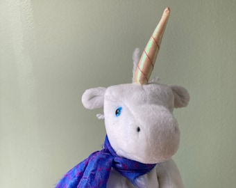 """Unise is about 8""""/20cm tall, and  a lovely unicorn.  Eco-friendly social enterprise supporting community charity."""