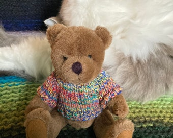 """Eddy Bear is 8""""/20cm tall, fully jointed, high quality bear, wearing hand knit sweater"""