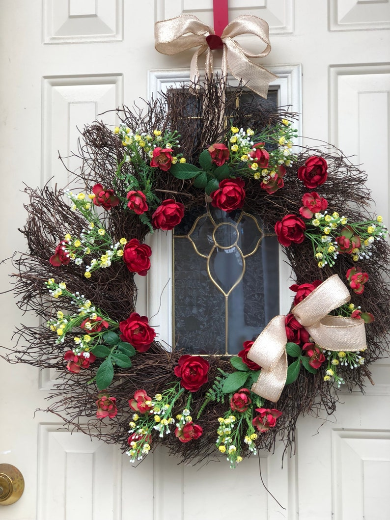 welcome wreath Red mini rose twig wreath with bow spring wreath wall decor summer wreath everyday wreath front door wreath