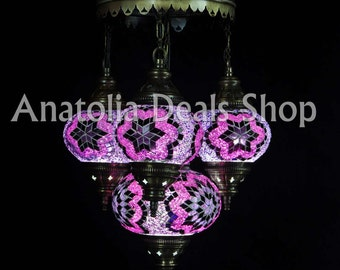 4 Piece Mosaic Lamp Turkish Lamp Ottoman Lighting Chandelier Chandelier Ottoman Lantern Lighting Lamp Lamps Laterns Indoor Lighting SULTAN-4
