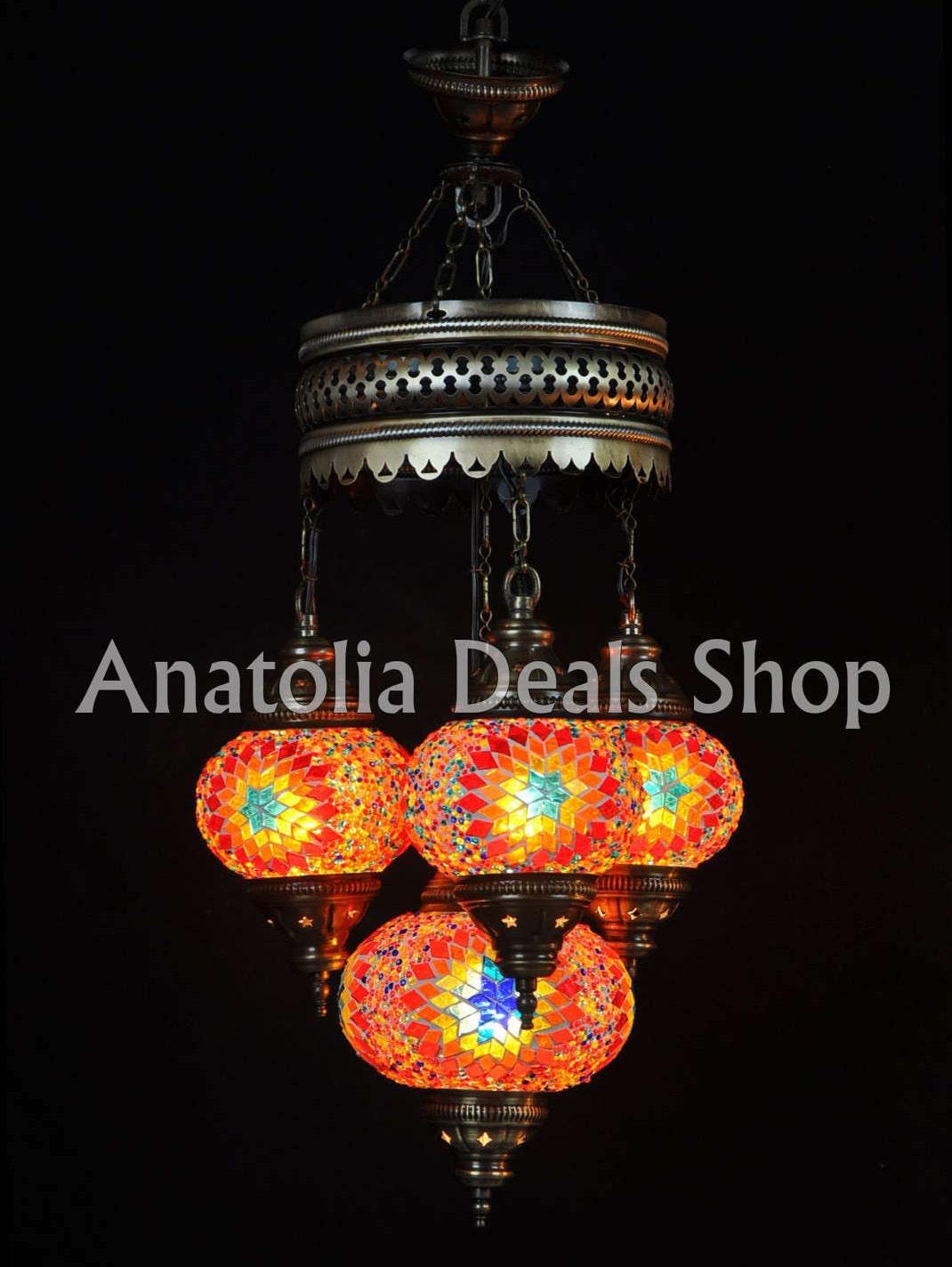 4 Mosaic Chandelier, Turkish Chandelier, Turkish Lighting, Ottoman Lamps, Turkish Lamp, Turkish Hanging Lamp, Turkish Mosaic Lamp SULTAN 4