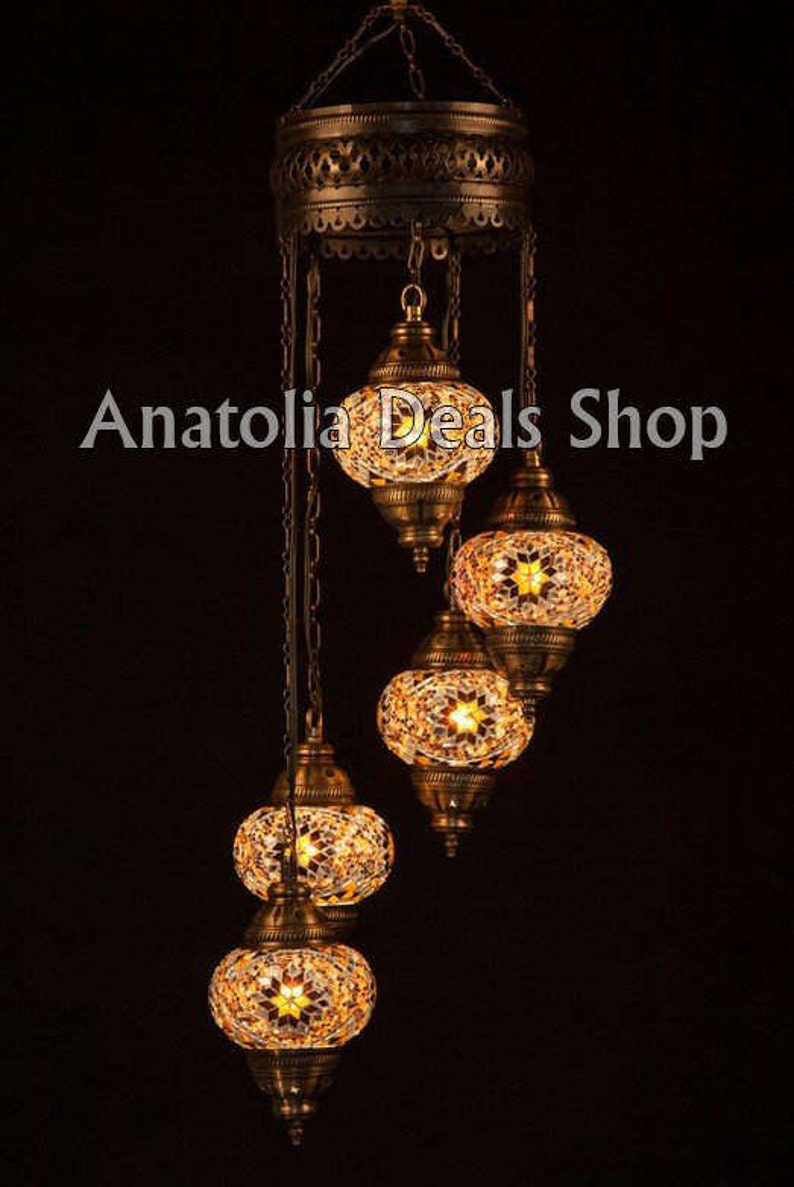 5 mosaic chandelier turkish chandelier turkish lighting ottoman lamps turkish lamp turkish hanging lamp turkish mosaic lamp spiral 5