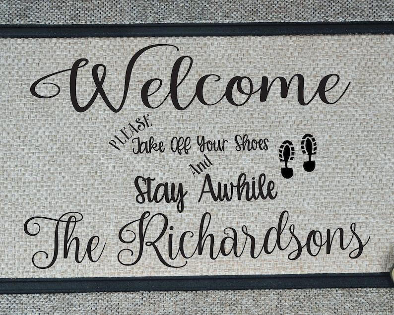 Please Remove Shoes Door Mat Welcome Mat Rug, Housewarming Gift Personalized Door Mat Custom Door Mat Wedding Gift New Home Gift