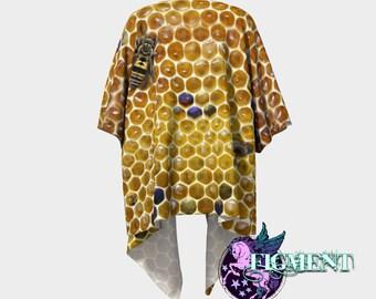Honeycomb Kimono - Knit or Chiffon - Honey Bee Kimono, Apiary Gifts, Bee Lover, Swimsuit Cover Up, Kimono Sweater, Boho Kimono, Bee Gift
