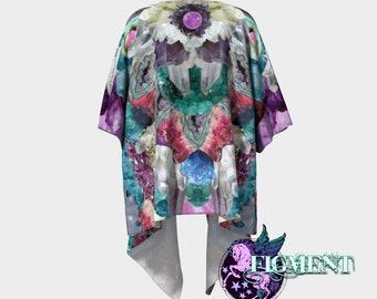 Crystal Kimono - Knit or Chiffon - Witchy Kimono, Kimono Sweater, Boho Kimono, Witchy Gift, Swimsuit Cover Up, Festival Kimono, Crystal Gift