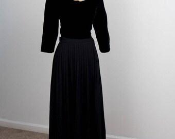 Black Wool Pleated Maxi Skirt