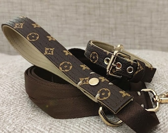 Dog Collar Damier print and Gold in vegan leather!