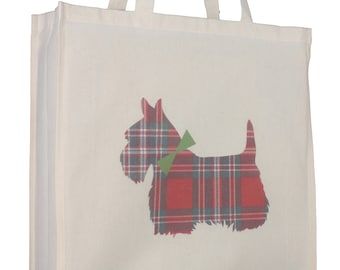 Scottish Terrier Scottie Breed of Dog Tartan Design Cotton Shopping Tote Bag  with Gusset and Long Handles 5d77d9a1c1af8