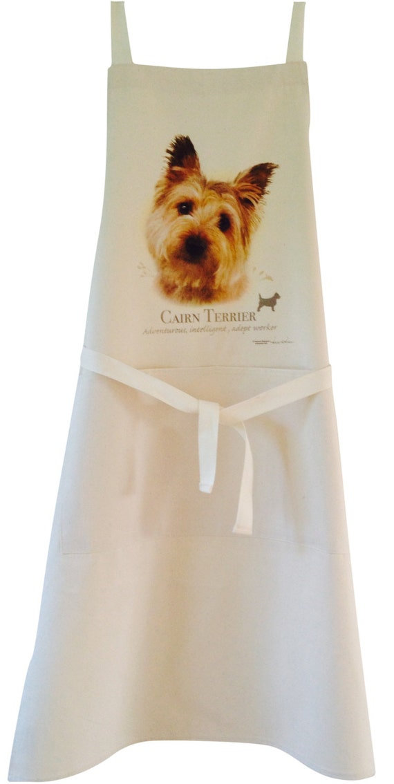 Cairn Terrier Dog Natural Cotton Apron Double Pockets Uk Made Etsy