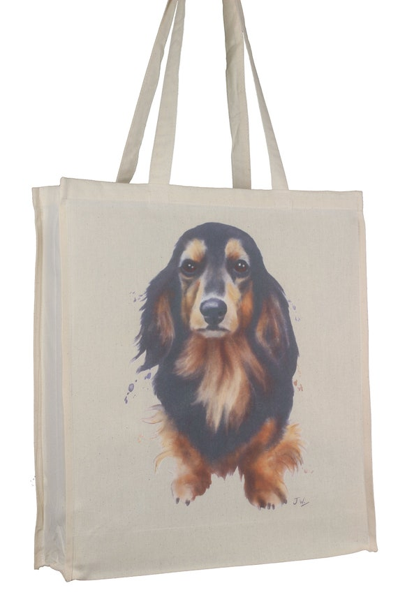 Dachshund Tan Long Hair Dog Splash Cotton Bag Gusset Xtra Space Perfect Gift