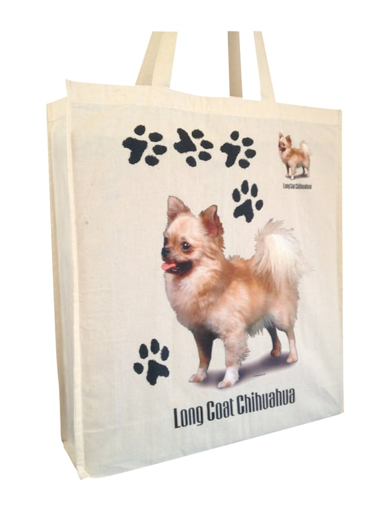 Chihuahua Cotton Shopping Bag with gusset and long handles