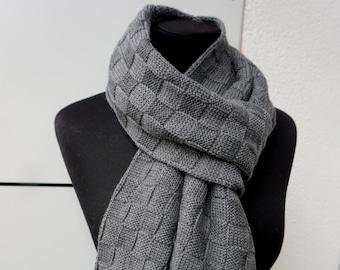 merino wool scarf, wool scarf men, mens scarves, mens knit scarf, merino scarf, Grey Scarf For Men, men's Scarf, Christmas gift to men