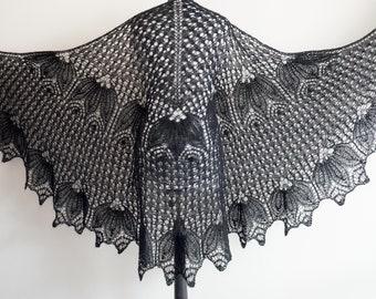 Knitted Shawl black shawl lace Shawl, mohair, womens gift, knit shawl, wool Wrap, knit scarf, womens gift, wool Wrap