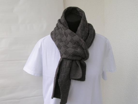 écharpe homme en tricot laine mérinos mans écharpe en tricot   Etsy 017c9569b6d