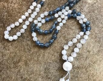Kyanite Mala, Moonstone mini Mala,  4mm Mala Beads, Yoga Jewelry, Gemstone Necklace, Boho Jewelry, Cornwall UK