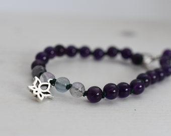 Amethyst Bracelet, February Birthstone, Aquarius Birthstone, Amethyst Fluorite Beaded Bracelet, Gemstone Bracelet, Boho Bracelet Cornwall UK