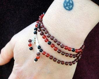 Mala beads Bracelet, Gemstone Mala, Red Jasper mala, Carnelian mala, Black Onyx mala, Boho Jewlery, gemstone bracelet, Cornwall UK