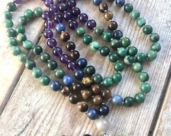 Custom Made Mala Necklace, Kundalini Yoga, 108 mala,  Gemstone mala, Mala Beads, Mala beads 108, Gemstone bracelet, Made in Cornwall Uk