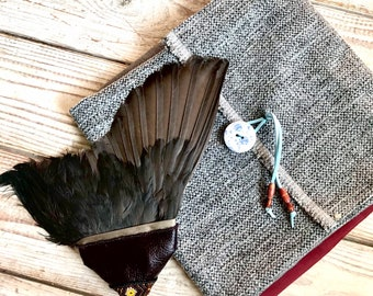 Feather Smudge Fan, Cruelty Free Feathers, Wild Coot Wing Ceremonial Smudge Healing Fan, Peyote Beading, Shamanic Tools, Cornwall UK