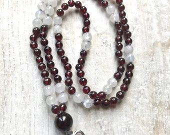 Garnet Divine Love Mala Necklace - Grade A Garnet Mala - Moonstone Mala - Gemstone Mala, Garnet 108 Mala beads,  Boho, Cornwall UK