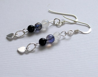 Gemstone earrings, Silver earrings, Iolite earrings, Rainbow Moonstone earrings, Black Onyx earrings, Gemstone Jewelry, Cornwall UK